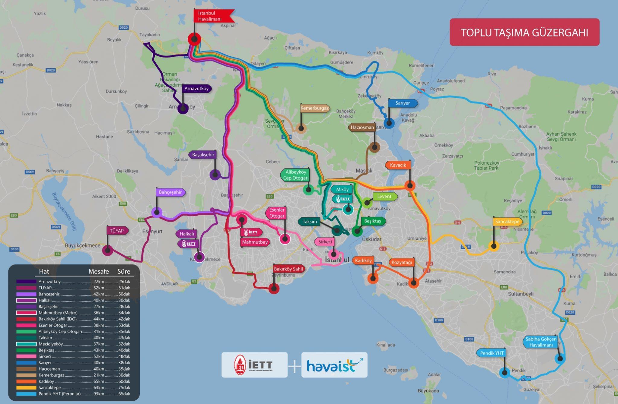 Istanbul Havalimanı Havaist İETT Güzergah Haritası